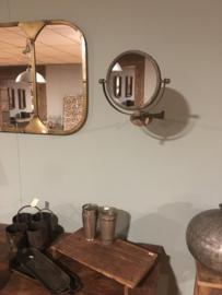 Metalen draaibare spiegel make-up scheer knikarm spiegel toiletspiegel rond badkamer vintage landelijk stoer industrieel brons koper old oud look grijsbruin vintage oud old look