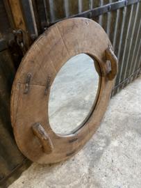 Prachtige grote oud houten ronde spiegel 81 cm wandspiegel rond groot oud hout lijst met oud landelijk stoer robuust industrieel