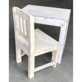 Oud houten tafeltje bijzettafeltje Salontafel kindertafeltje 50 x 30 x 50 cm wit whitewash white burootje landelijk vintage industrieel