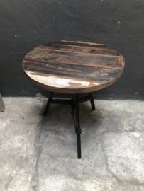 Vintage metalen rond tafeltje Met houten blad industrieel zwart metaal 60 cm