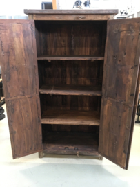 Stoere dichte houten kast truckwood railway hout 190 x 90 x 45 cm 2 Deurs landelijk stoer robuust