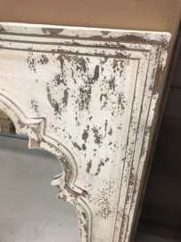 Gave grote houten spiegel wit doorgescheurd beige naturel 119 x 66 x 3 cm landelijk brocant