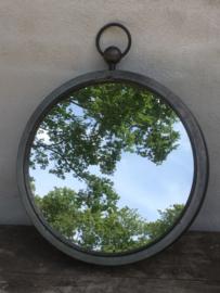Metalen landelijke grote ronde spiegel spiegeltje rond zink zinc grijs 46 cm landelijk old look landelijk industrieel