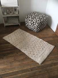 Jute viscose vloerkleed 140 x 70 cm wit naturel