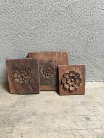 Oud ruw houten ornament bloem Wandpaneel landelijk stoer sober landelijke stijl