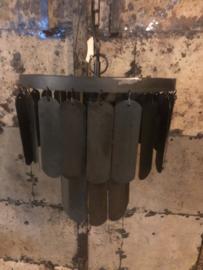 Zwart metalen Hanglamp lamel 30 cm zwart grijs kroonluchter schijfjes industrieel landelijk stoer