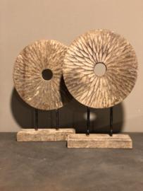 Houten Ornament op pin vintage landelijk robuust rond hout ring ginder