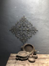 Metalen wandpaneel wanddecoratie wandpanelen ruit Mandela 64 x 64 cm stoer landelijk grijs bruin vintage