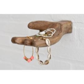 houten hand ornament wandhaak wandkapstok beeldje landelijk industrieel vintage stoer