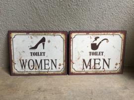 Set van 2 Nostalgische deurbordjes deur bordje naambordjes dames heren women men plaatje wc toilet gietijzer gietijzeren