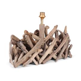 Vergrijsd houten drijfhout drijfhouten driftwood lamp lampenvoet landelijk 60 x 20 x 30 cm