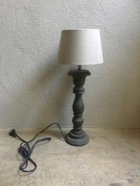 Stoere grijs  houten balusterlamp tafellamp lamp 35 cm tafellamp landelijk stoer robuust