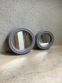 Rond houten spiegel spiegeltje hout grijs landelijk stoer industrieel 22 cm