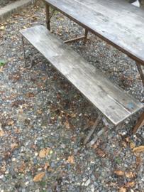 Oude landelijke industriële eettafel tuintafel klaptafel werkbank werktafel 160 x 80 cm oud vintage stoer