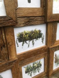 Grote houten fotolijst geschikt voor 9 foto's fotolijstjes oud hout landelijk combi lijst