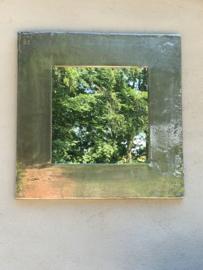 Ruw nikkel nickel metalen spiegel 72 x 72 cm vierkant industrieel modern strak eenvoudig sober landelijk mat