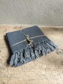 Prachtige sobere grof linnen woonplaid leeff met flosjes grijs grijze antraciet kleed plaid 200 x 130 cm doek deken hamman landelijk grove