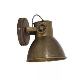 Industriële metalen spotje hanglamp industrieel brons koper kleur industrieel vintage urban wandlamp 1 grijze kap spot spots plafondlamp plafoniere metaal verstelbaar landelijk stoer vintage