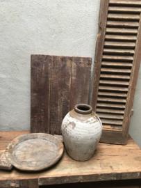 Oud stenen kruikje kruik pot olijfpot olijfkruik beige landelijk stoer vintage groen army khaki