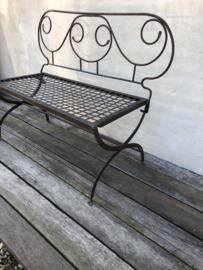 Romantisch antiek oud smeedijzeren bankje bankje bistro park parkbank stationsbank bistrobankje tuinbankje tuinbank bruin landelijk brocant sober stoer inklapbaar