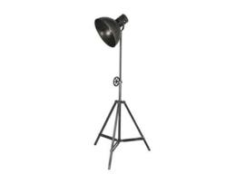 Stoere vloerlamp staande lamp zink grijs industrieel landelijk 3 poot antraciet mat zwart old look zwartbruin staande lamp leeslamp