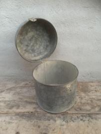 """"""" Zinken """" grijs metalen ton tonnetje blik trommel prullenbak prullenbakje verzinkt landelijk stoer industrieel"""