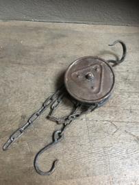 Metalen ijzeren lier katrol spoel klos ketting industrieel landelijk 50 cm pulley bruingrijs  stoer metaal