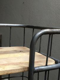 Grote industriële kast trolley kar bakkerskar bakkersrek 180 x 70 x 40 cm schap rek metaal houten planken