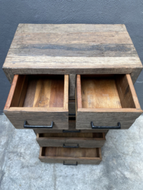 Stoere railway truckwood houten ladekast ladenkast landelijk stoer vergrijsd industrieel 110 x  60 x 35 cm