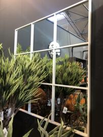 Groot vierkant wit metalen stalraamspiegel 118 cm vierkant  stalraam kozijn venster tuinspiegel spiegel kozijn venster landelijk industrieel vintage