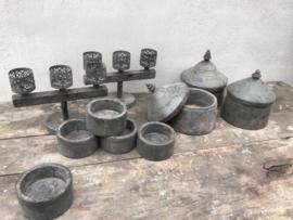 Metalen kandelaar theelicht theelichtje theelichtjes metaal grijs vergrijsd landelijk stoer