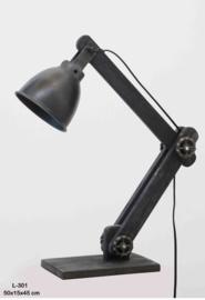 Industrieel metalen metaal vergrijsd hout houten zinken zink lampje buro sunburn grijs antraciet mat zwart old look bed leeslampje tafellamp tafellampje landelijk grijs stoer metaal