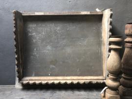 Prachtig origineel oud houten zinken metalen Wandpaneel wandornament landelijk sober afdak industrieel grijs Aura Peeperkorn