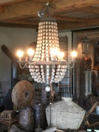 Mega grote metalen/Houten kralen kroonluchter hanglamp mat grijs landelijk stoer zakkroonluchter sober