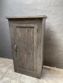 Oud stoer houten kast kleerkast 1 deurskast 161 x 88 cm landelijk grijs zwart industrieel