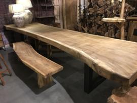 Boomstam stronk boomstronk 170 cm boomstam tafel landelijk industrieel metalen voet