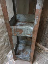 Zinken rek Vakkenkast gruttersbak metaal keukenrek winkelkast etagere landelijk vintage industrieel metalen