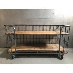 Grote industriële kast trolley kar bakkerskar bakkersrek schap rek tv meubel televisie kast Sidetable metaal houten planken