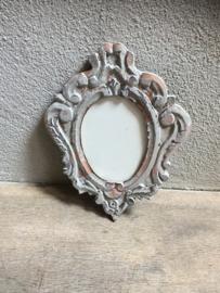 Houten fotolijst fotolijstje lijst lijstje osseoog ossenoog ornament oeil de boeuf landelijk stoer grijs
