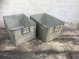 Stoere zinken bak la industrieel stoer landelijk industrieel metalen lade