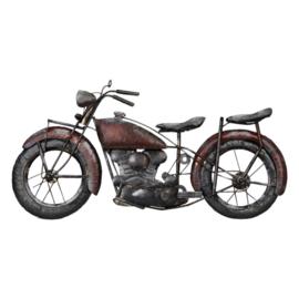 Metalen grijze grijs bruin rood wanddecoratie motorfiets moter motor zwart muurdecoratie 3D jongenskamer reliëf metaal industrieel vintage 79 x 40 x 5,5 cm