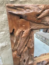 Grof teakhouten spiegel landelijk robuust stoer  100 x 100 cm
