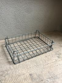 Metalen stapelbare draadmand bak tray mand mandje draadmandje stapelbaar A4 Postbak postvakje industrieel landelijk Brocant