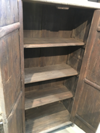 Prachtige grote dichte kast linnenkast kledingkast 2 deurs landelijk stoer olmenhout 180 x 95 x 48 cm
