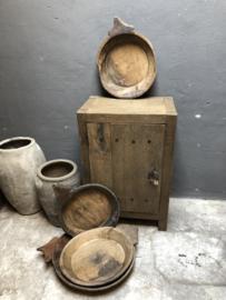 Grote oud houten schalen met handvat punt schaal bak landelijk stoer hout