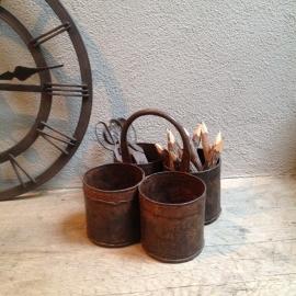 4 bakjes Stoere metalen bakjes met hengsel bottle holder wijnrek flessenhouder bestekbak pot bak landelijk industrieel