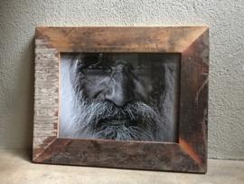 Stoer sloophouten lijst lijstje fotolijstjes Fotolijstje oud hout landelijk vintage industrieel oude houten fotolijst A5