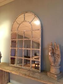 Groot grote stalraamspiegel tuinspiegel wit beige verweerd spiegel stalraam kozijn venster 150 x 70 cm