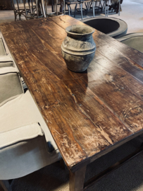 Oude landelijke industriële eettafel naturel 182 x 90 cm hout houten Sidetable bureau buro klaptafel werkbank werktafel oud vintage stoer