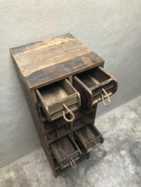 Oud houten 18 ladenkast ladenkastje ladekastje kast baksteenmal baksteenmallen brickmal brickmals kastje Vakkenkast grutterskast landelijk stoer industrieel grof ruw hout
